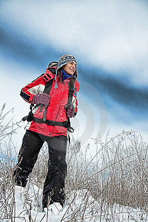 Hiker on the snow