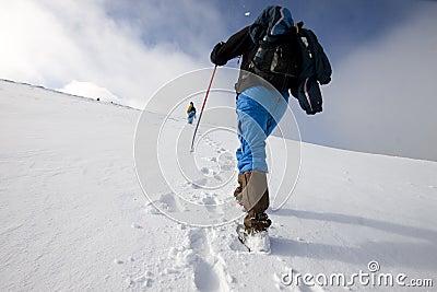 Hiker in snow