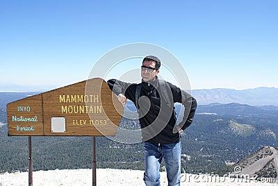Hiker on Summit of Mammoth Mountain