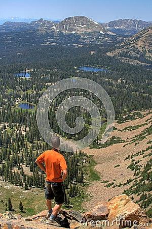 Hiker surveys landscape