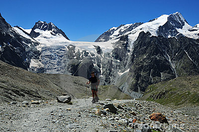 Hiker in Swiss Alps