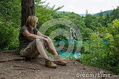 Hiker take rest