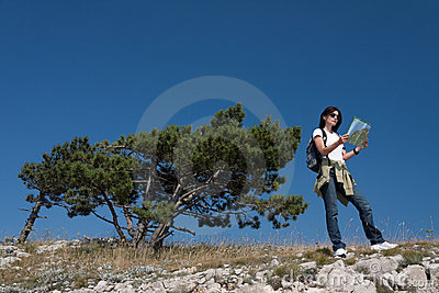 Hiker with thw map
