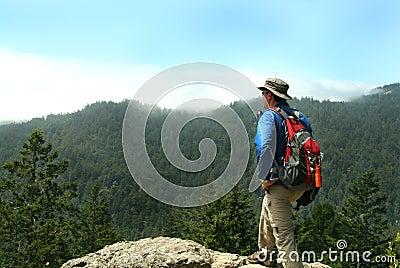 Hiker on Top of a Peak