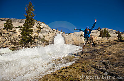 Hiker Treking Along Cascades. Stock Images - Image: 9616474