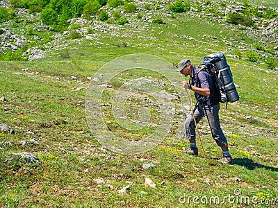 Hiker trekking in Crimea