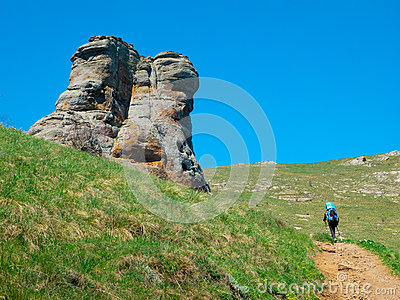 Hiker trekking in Crimea