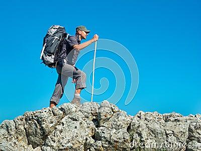 Hiker trekking