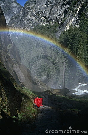 Hiker under Rainbow, Yosemite