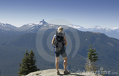 Hiker at a viewpoint in Whistler