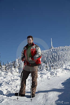 Hiker in winter