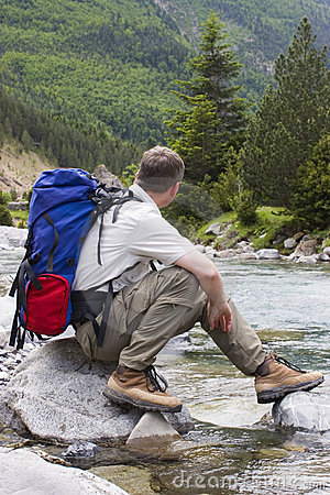 Free Hiker With Backpack Stock Photos - 4904353