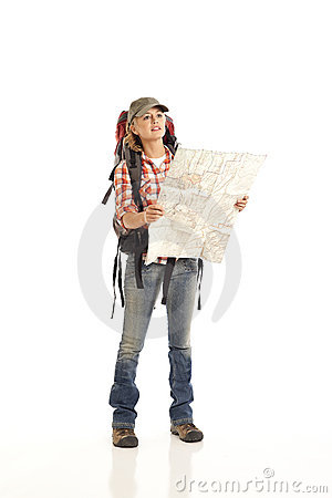Free Hiker With Map Stock Image - 16897781