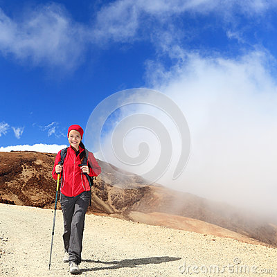 Hiker woman hiking