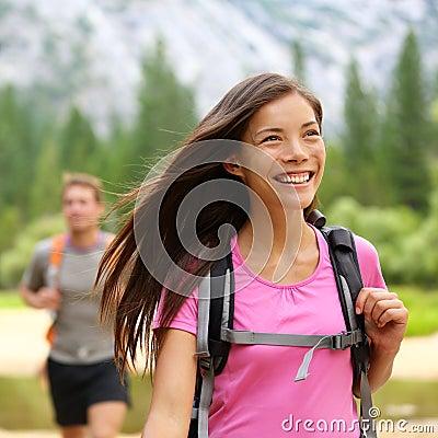 Hiker woman hiking happy