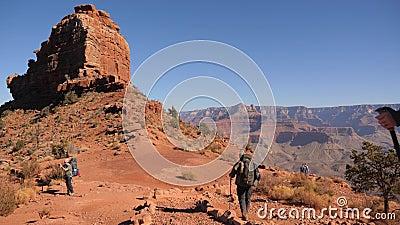 Hikers с рюкзаками на южном Kaibab отстают акции видеоматериалы