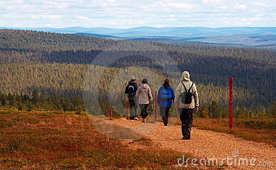 Hikers in Inari, Saariselkä, Finland