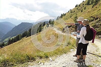 Hikers on alpine trail