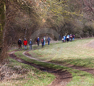 Hikers on an English Country Trail