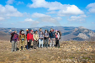 Hikers group on a peak