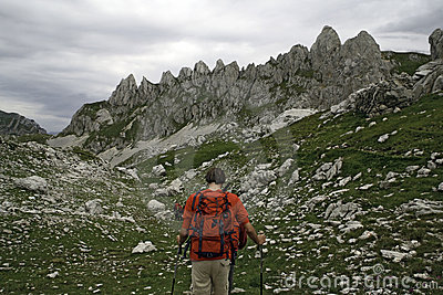 Hikers at high mountains