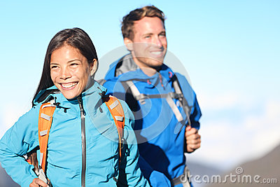 Hikers - hiking couple happy
