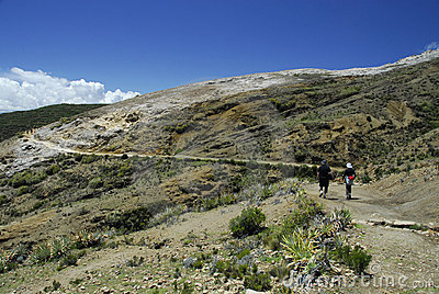 Hikers on Inca Trail on Isla del Sol with Titicaca
