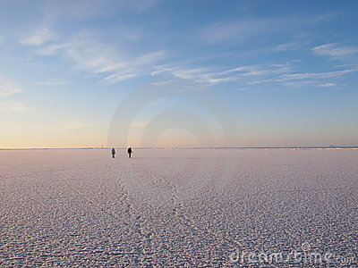 Hikers on a sea ice
