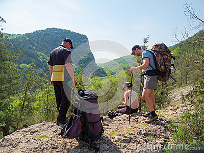 Hikers stopped to rest