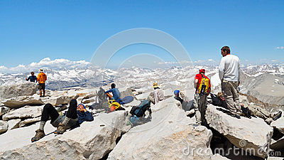 Hikers on the Summit of Mount Whitney Editorial Photo
