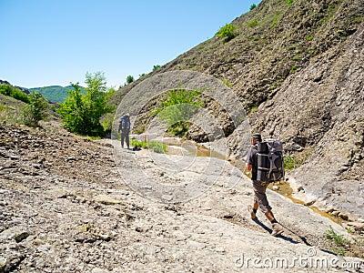 Hikers trekking