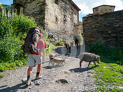 Hikers trekking in Svaneti
