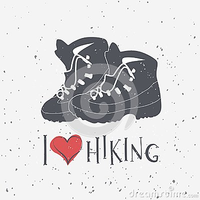 Free Hiking Boot S Silhouettes With Hand Drawn Text I Love Hiking. Stock Photos - 114186553