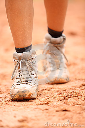 Free Hiking Boots - Close Up Of Dirty Hiker Shoes Royalty Free Stock Photo - 39316945