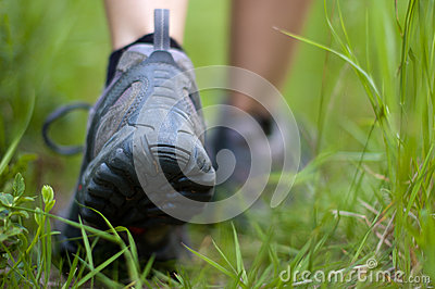 Hiking boots in an outdoor action