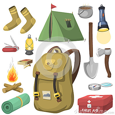 Free Hiking Camping Equipment Base Camp Gear And Accessories Outdoor Cartoon Travel Vector Illustration. Stock Photography - 89737852
