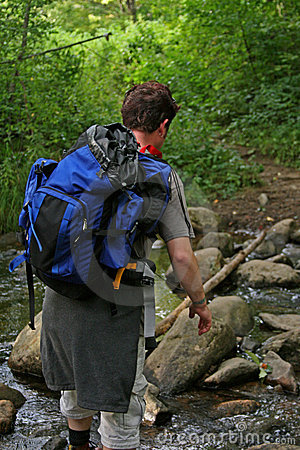 Free Hiking | Crossing A Stream Royalty Free Stock Photography - 5182377