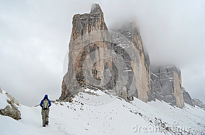 Hiking in the Dolomites in winter