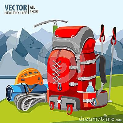 Free Hiking Equipment, Rucksack, Poles, Rope, Helmet, Ice Pick. Mountaineering. Mountains. Vector Illustration. Royalty Free Stock Photos - 92559768