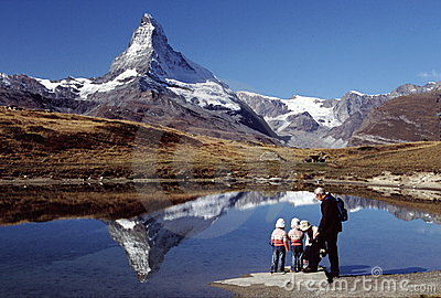 Hiking family at Matterhorn