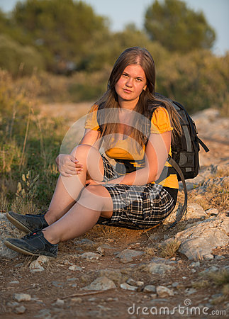 Hiking girl resting
