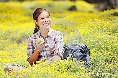 Hiking girl in spring