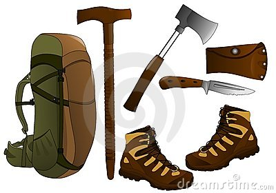 Hiking items, cdr vector