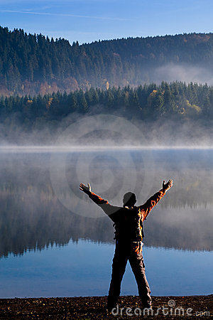 Hiking at lake