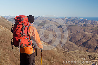Hiking man with backpack