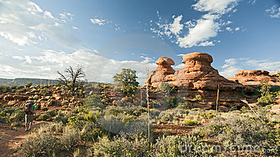 Hiking Past Dramatic Rocks