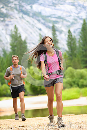 Free Hiking People - Couple Hikers Happy In Yosemite Stock Image - 30295761