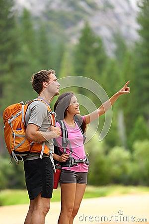 Hiking people - couple of hikers in Yosemite