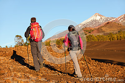 Hiking people - healthy active lifestyle couple