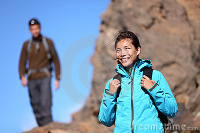 Hiking people - woman outdoors portrait